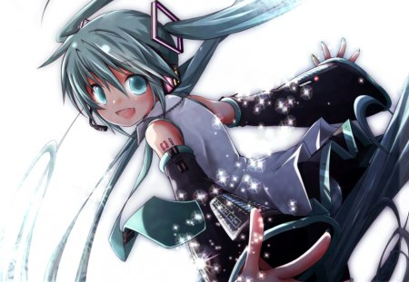 Hatsune Miku - pretty, stunning, cg, blush, nice, anime, aqua, beauty, anime girl, vocaloids, art, twintail, skirt, black, miku, singer, thigh high, aqua eyes, cute, headset, hatsune, cool, digital, awesome, white, idol, artistic, glow, hatsune miku, headphones, tie, beautiful, thighhighs, program, twin tail, light, blue, vocaloid, outfit, amazing, music, diva, microphone, leggings, song, girl, stockings, uniform, virtual, aqua hair