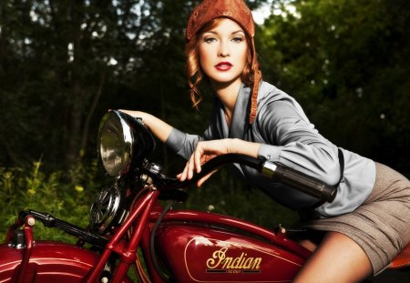 Retro Ride - pretty, motor, indian, skirt, beautiful, cycle, woman, motorcycle, hat, retro, leather, girl, helmet, lady, classic, vintage