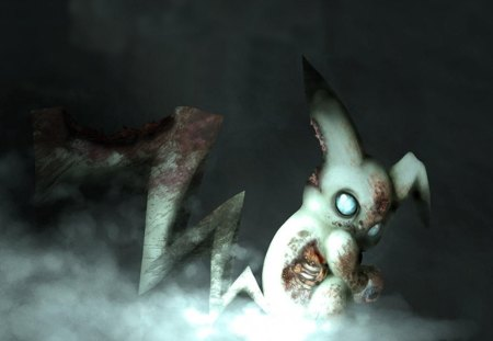 Evil Zombie Pikachu - 3d, anime, evil, pokemon, cartoon, pikachu,