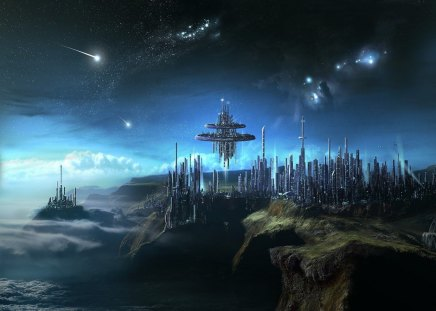 alien city - stars, aliens, city, worlds, space, alien worlds
