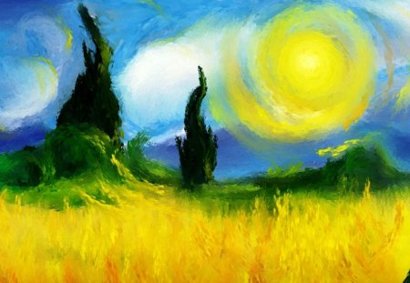 Impressionist painting - cloud, field, painting, nature, trees, sun