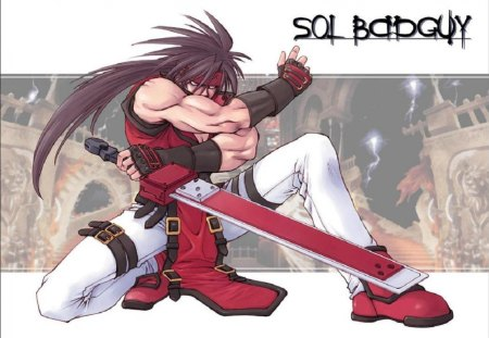 Sol Badguy - games, male, video games, anime, sol badguy, weapon, guilty gear, long hair, sword