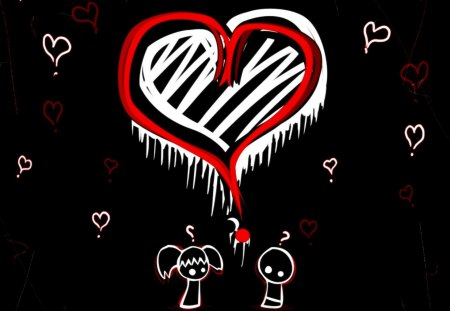 Emo Love <3 - white, emo, scene, black, heart, red, cute, love
