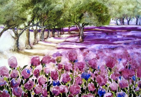 Beautiful painting - flowers, painting, path, nature, trees
