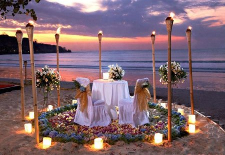 Romantic Dining on the Beach - dinner, torches, tiki, romance, lights, beach, sand, two, love, dine, couple