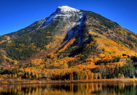 Mountain - nature, autumn, mountain, lake