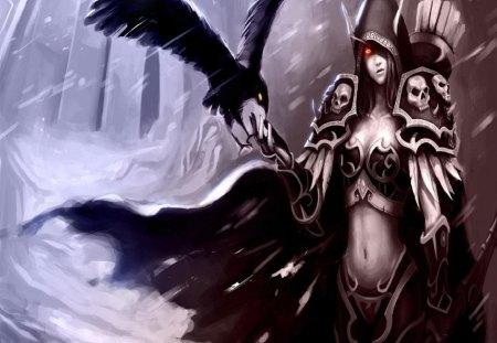 Dark Elf And Crow - arrows, crossbow, snow, dark elf, female, crow