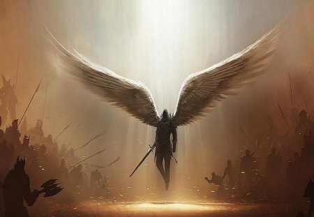 And God Said No More - bright light, wings, armies, fantasy, light, war, swords, angel