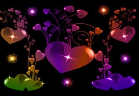 Coloured Hearts - heart spray, multicoloured hearts, mixed hearts, heart array