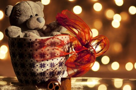 Teddy Bear Gift - toy, teddy, ribbon, lights, stuff, gift, photo, bear