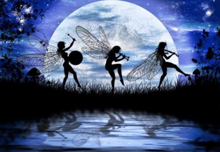 Dancing Elfs - fairies, sky, moon, water, night, artwork
