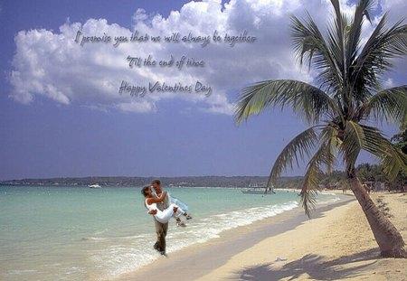lovers on beach - water, verse, tree, lovers