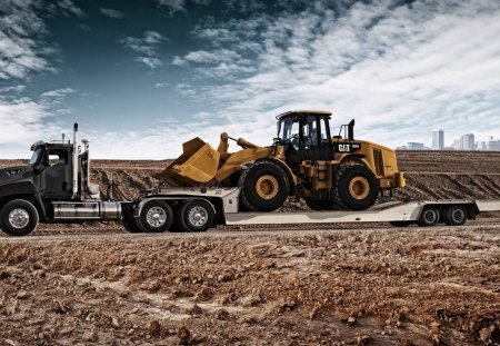 Caterpillar Transport - flat bed, photography, construction, heavy equipment, tires, front end loader, heavy, truck, caterpillar transport truck, tractor trailer, caterpillar 966h front-end loader, rig, cat, photoshop, earth mover, yellow, trailer, drop deck, loader, transport, black, low boy