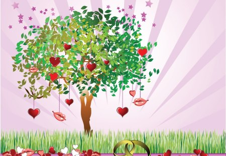 The love tree - hearts, valentine, kiss, wedding, romantic, tree, lips, love