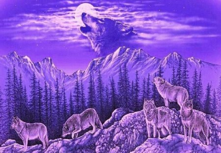 Purple Majesty - sky, abstract, wolves, fantasy, animals