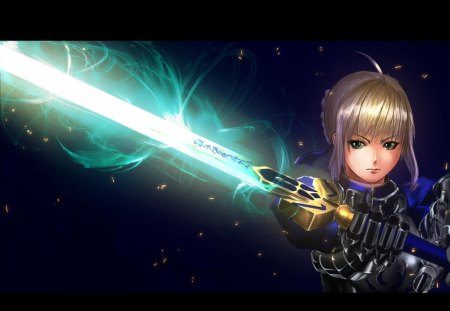 Saber - saber, female, excalibur, green eyes, fsn, fate stay night, anime, weapon, sword, armour