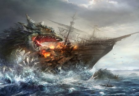 Dragon Attacking A Ship - vessel, ocean, sail boat, hydra, monster, water, attack, boat, sail, wyvern, ship, basilisk, sea, tarragon, dragon, attacking