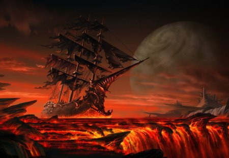 Ghost Ship From Hell - glow, sea of flames, tattered, hell, molten, magma, sea, sail, boat, smoke, flare, inferno, hearth, burning, ocean, lava, heat, fire, searing, ghost, flames, ship, warmth, blaze, navy, lake of fire