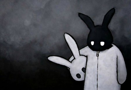 Sad Dark Bunny ~ - dark, wall, scene, bunny, emo, darkness, sad, new, white and black