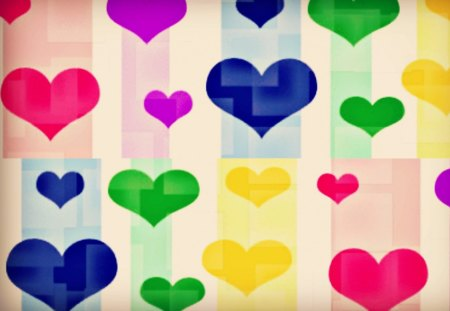 Cubed Hearts - colorful, hearts, heart, cubed