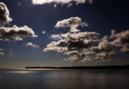 suspended in the air - sun, land, reflection, clouds, sky, sea, blue