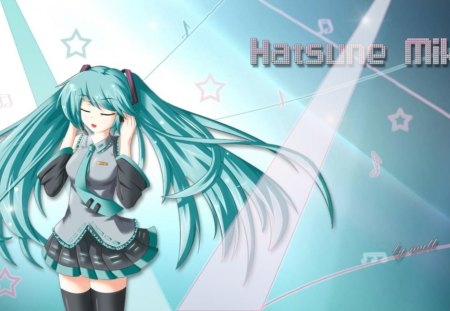Hatsune Miku - pretty, stunning, cg, thigh highs, nice, anime, aqua, beauty, anime girl, vocaloids, art, twintail, skirt, black, miku, singer, aqua eyes, cute, headset, hatsune, cool, digital, awesome, white, idol, artistic, hatsune miku, gray, headphones, tie, beautiful, thighhighs, program, twin tail, singing, blue, vocaloid, outfit, amazing, music, diva, microphone, leggings, song, girl, stockings, uniform, virtual, aqua hair