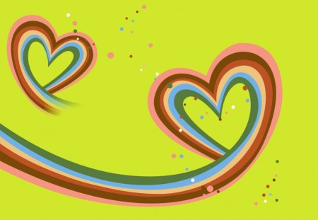 Rainbow Hearts - pink, yellow, blue, rainbow, hearts, white, colors, abstract, red, bubbles