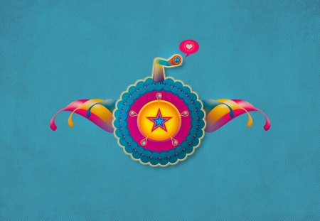 Retro Love - pink, love, yellow, blue, retro, colors, star, abstract, circle