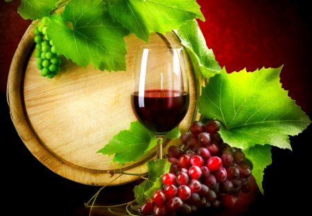 RED WINE - wine, grapes, glass, red, barrel, leaves