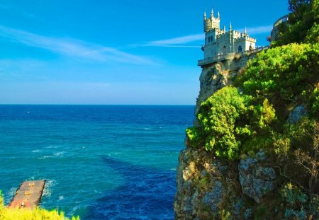 Castle on coastal rocks - rocks, shore, beautiful, clouds, sea, horizons, blue, view, ocean, high, greenery, waves, sky, peaceful, summer, coastal, nature, castle
