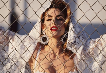 Cindy Crawford - supermodel - sensual, pretty, splendid, lace, beautiful, woman, cindy crawford, supermodel, famous, beauty, face, long hair, star, big hair, celebrity, earrings, tempting, sexy, lips, brunette, makeup, passion, eyes, white