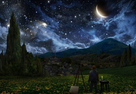 STARLIT NIGHT - planets, art, artist, canvas, night, people, palette, landscapes, space, moons, stars, mountains, trees