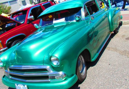 1951 Custom Chevrolet Coupe - chevy, custom, coupe, car show, cool, flames, green, chevrolet, 51, 1951, vintage