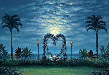 Garden of Love and Romance - flowers, grass, ocean, water, heart, stars, clouds, romance, moon, tiki torches, palms, love, garden