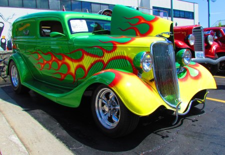 1934 Ford Sedan Delivery - cool, vintage, ford, custom, 1934, 34, flames, street rod, show car, hot rod