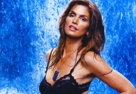 Cindy Crawford - mature - sensual, pretty, splendid, beautiful, woman, cindy crawford, supermodel, famous, beauty, face, long hair, star, big hair, blue, celebrity, tempting, black, sexy, lips, brunette, makeup, passion, eyes