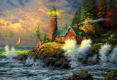 Lighthouse in a island - island, house, waves, lighthouse, sea, trees, rocks