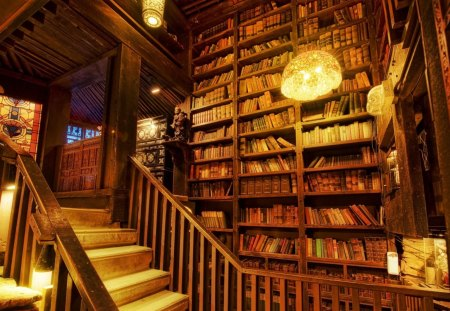 Personal Library - library, rocks, ancient books, books, house, librat, light, rock, old books