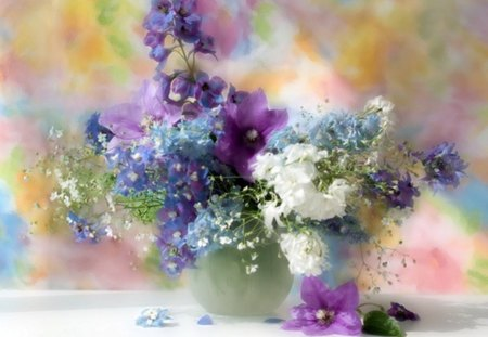Colourful Flowers - flowers, white, still life, nature, vase