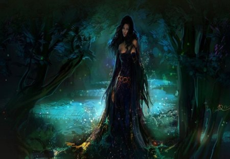 Water Nymph - mysterious, stream, dark, magic, trees, waterfall, forest, fantasy, pretty, lady
