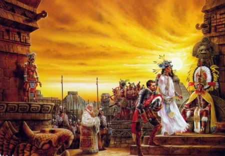 The Spaniards Arrive - royo, headdresses, aztecs, statues, natives, spaniards, feathers, pyramids, luis royo, church