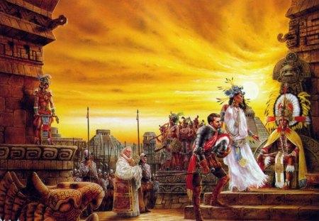 The Spaniards Arrive - natives, spaniards, feathers, statues, pyramids, aztecs, church, headdresses, royo, luis royo
