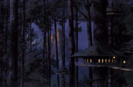 Scenic Fantasy - forest, darkness, futuristic housing