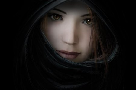 Beauty in black - beauty, black, girl, 3d
