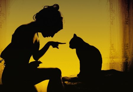 Bad kitty!! - girl, kitty, silhouettes, bad, cat