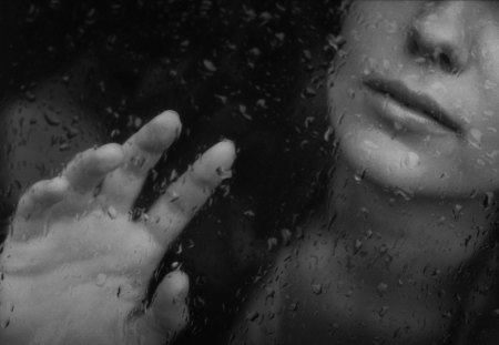 Touch the rain - rain, woman, black, drops, white, window