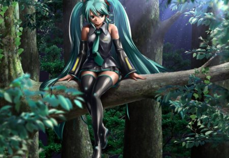 Hatsune Miku - pretty, stunning, sun, cg, thigh highs, nice, anime, aqua, beauty, anime girl, forests, relaxation, vocaloids, realistic, art, twintail, real, black, miku, singer, sexy, trees, aqua eyes, cute, headset, hatsune, cool, digital, awesome, sunshine, white, idol, artistic, hd, hatsune miku, woods, headphones, tie, beautiful, thighhighs, program, twin tail, hot, blue, vocaloid, outfit, amazing, realism, music, sunlight, diva, microphone, leggings, song, girl, stockings, uniform, sitting, virtual, aqua hair, relaxing