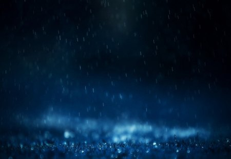 Blue Raining - water, drops, weather, rain