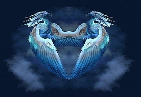 dragon heart - warm, blue, flying, dragons, love