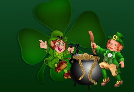 leprechauns - holiday, clover, pot of gold, green